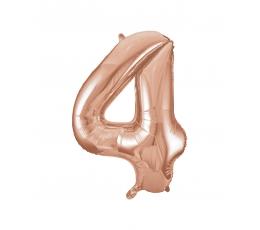 "Folija balons, skaitlis ""4"", rozā zelts (85 cm)"