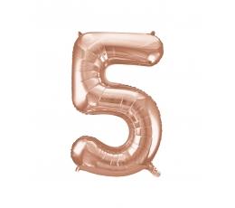 "Folija balons, skaitlis ""5"", rozā zelts (85 cm)"
