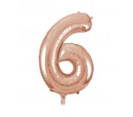 "Folija balons, skaitlis ""6"", rozā zelts (85 cm)"