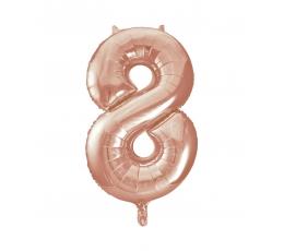 "Folija balons, skaitlis ""8"", rozā zelts (85 cm)"