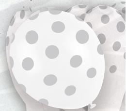 Шарики, серебряные в горошек(6 шт/30 см)