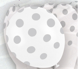 Baloni, sudraba punkti (6 gab/30 cm)