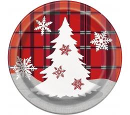 """Šķīvīši """"Rūtaini Ziemassvētki"""" (8 gab/ 17 cm)"""