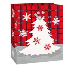 """Dāvanu maisiņi """"Rūtaini Ziemassvētki"""" (18x10x23 cm)"""