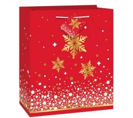 """Dāvanu maisiņs """"Spīdīgas sniegpārslas"""" (18x10x23 cm)"""