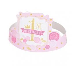 """Kronīši """"1-mā dzimšanas diena"""",rozā -zelta (6 gab)"""