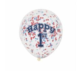 """Baloni """"1-ā dzimšanas diena"""" ar sarkaniem un ziliem konfetī (6 gab)"""