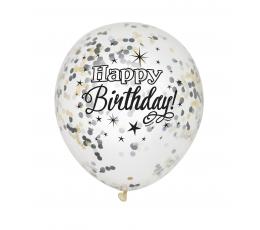 "Baloni ""Happy Birthday"" ar melniem un zelta konfetī ( 6 gab)"