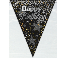 "Karodziņu virtene"" Happy Birthday"", melna ar zelta akcentiem (3,65m)"