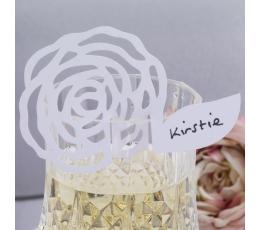 """Vārda kartes, glāzēm - """"Rozes"""", baltas (10 gab)"""