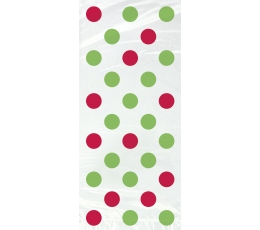 Dāvanu maisiņi, sarkani-zaļi punkti (20 gab)
