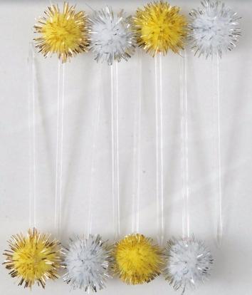 Irbulīši dekorācijas, zelta-sudraba pūkaiņi (8 gab)