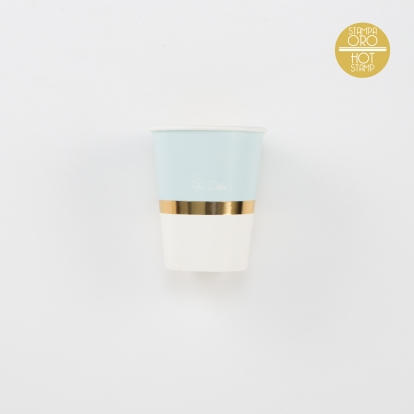 Glāzītes, gaiši zilas ar zelta maliņu (8 gab/ 250 ml)