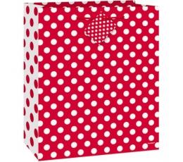 Dāvanu maisiņs, punktains-sarkans (18 x 10 x 23 cm)