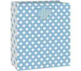 Dāvanu maisinš, zils ar punktiņiem