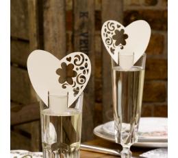 """Vārdu kartītes """"Ziedu sirdis"""", šampanietim (10 gab)"""