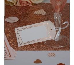 Dekoratīvas etiķetes, rozā-zelta figūras (10 gab)