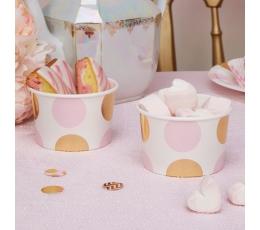 Чашечки для закусок, розовые  с золотым точки  (8 шт)