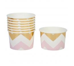Чашечки для закусок, розовые с золотым (8 шт)