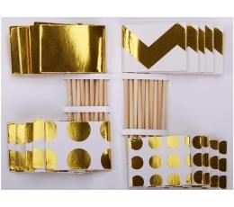 Декоративные шпажки - флажки, белые-золотые (20 шт)