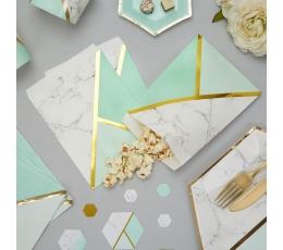 Papīra maisiņi, piparmētru krāsas marmors (25 gab)