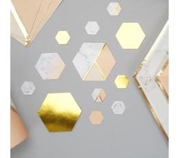 Papīra konfettī, persiku krasas marmors (100 gab)