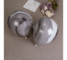 Baloni - melnbalti, ar marmora efektu (8 gab)