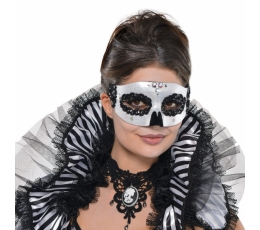Domino maska - melnbalta