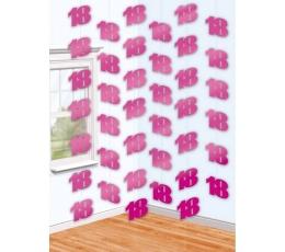 """Karināmā dekorācija """"18"""", rozā spīdīga  (6 gab)"""