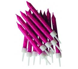Свечки , ярко розовые блестящие (12 шт)