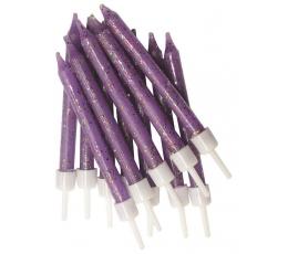 Svecītes, violetas spīdīgas (12 gab)