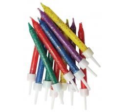 Svecītes, daudzkrāsainas-spīdīgas (12 gab)