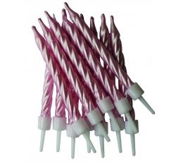 Свечки , перламутровые - розовые  (12 шт)