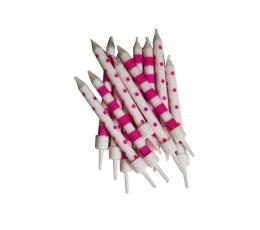 Свечки , розово-белые(12 шт)