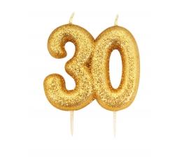 """Свечка """"30"""" ,  золотая"""