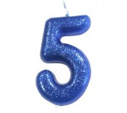 """Svecīte """"5"""", zila-spīdīga"""