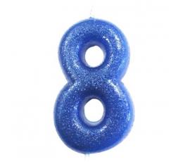 """Svecīte """"8"""", zila -spīdīga"""