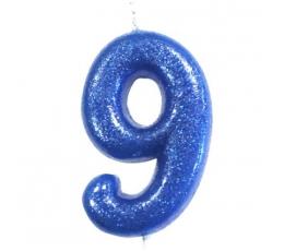"""Svecīte """"9"""", zila - spīdīga"""