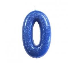 """Svecīte """"0"""", zila spīdīga"""