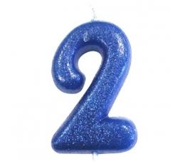 """Svecīte """"2"""", zila spīdīga"""