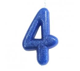 """Svecīte """"4"""", zila-spīdīga"""