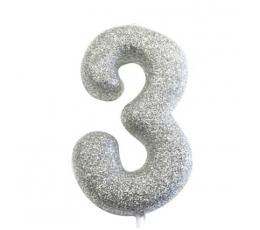 """Svecīte """"3"""", sudraba -spīdīga"""