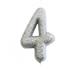 """Svecīte """"4"""", sudraba -spīdīga"""