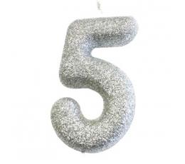 """Svecīte """"5"""", sudraba -spīdīga"""