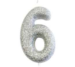 """Svecīte """"6"""", sudraba -spīdīga"""