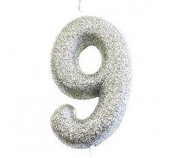"""Svecīte """"9"""", sudraba -spīdīga"""