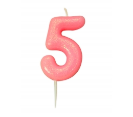 """Svecīte """"5"""" rozā,spīdīga"""