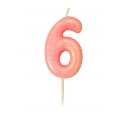 """Svecīte """"6"""", rozā-spīdīga"""