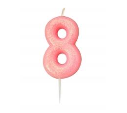 """Svecīte """"8"""", rozā spīdīga"""