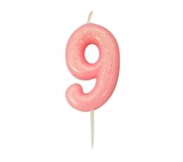 """Svecīte """"9"""", rozā-spīdīga"""